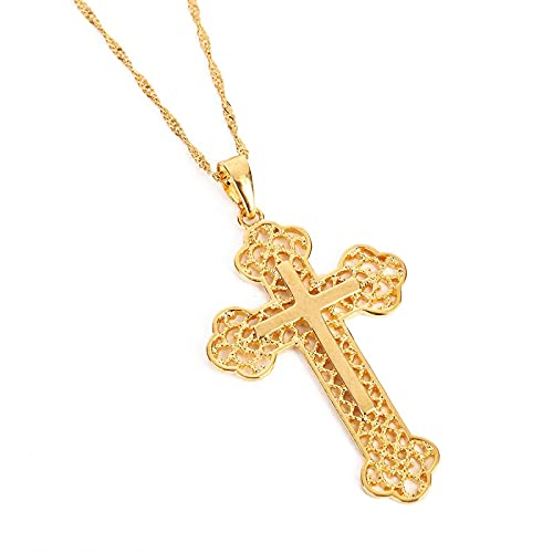 Naswi San Jesucristo Colgante Cadena joyería Regalo 24 k Color Oro católico Jesús Collar joyería