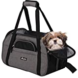 JESPET Soft Sided Pet Carrier Comfort to Travel for Small Animals/Cats/Kitten/Puppy, Smoke Gray, 19' x 10' x 13'