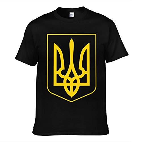 Hommes Homme Ukraine Pride Style-Feel Ukrainian Coat of Arms Logo Sommer Manches Courtes Tee Shirts Chemise T Shirt Col Rond pour Men Black S T-Shirt