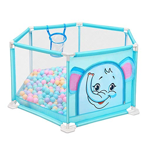 playpens for toddlers,140cm Baby Playpens with Basket Tents Infant Playyard Safety Household Protective Fence Hexagon House Play Yard Travel/Indoor - Blue Cartoon