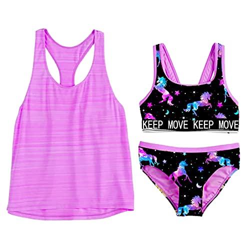 iiniim Mädchen Tankini Bikini Bademode mit Druck 3tlg.Tank Tops+Slip+Badeshorts/Baderock Kinder Badebekleidung Sommer Badeanzug Schwimmanzug C Lila 158-164