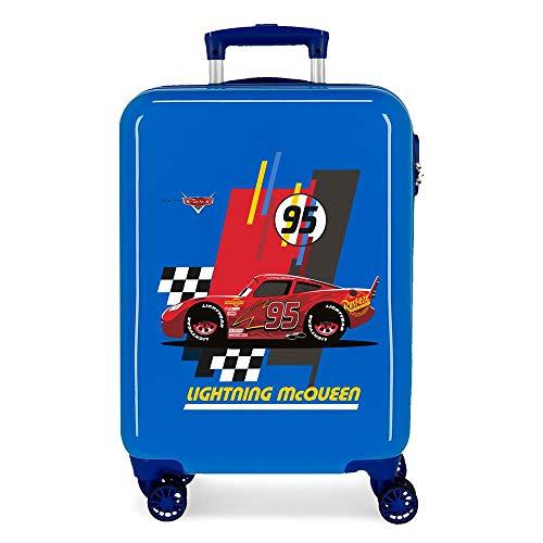 Disney Cars Lightning Mcqueen Maleta de Cabina Azul 37x55x20 cms Rígida ABS Cierre combinación 34L 2,6Kgs 4 Ruedas Dobles Equipaje de Mano
