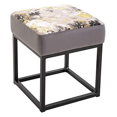 CARO-Möbel Hocker Marbella Polsterhocker Sitzhocker Samtbezug in grau mit Blumenmotiv