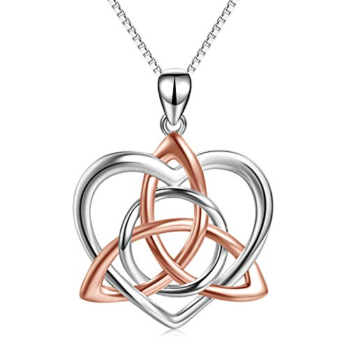 Rose Gold Plated Celtic Love Knot Necklace Jewelry Sterling Silver Good Luck Vintage Triquetra Irish Celtic Love Heart Pendant Necklace for Women Girls (A Rose gold celtic knot necklace)
