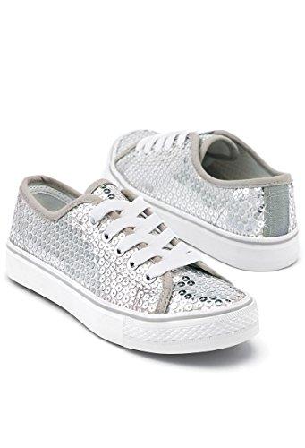 Balera Sequin Low Top Dance Sneakers Silver 10CM