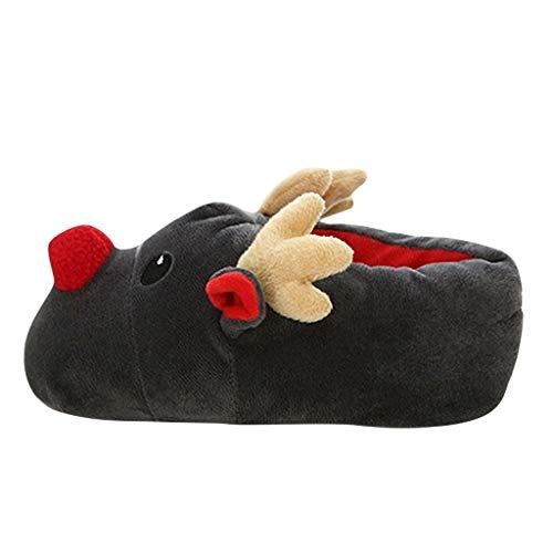 Luckycat Mujer Zapatillas de Estar Invierno casa Cerradas Calienta con Comodidad Pantuflas Zapatillas Casa para Unisexo Antideslizante Pantufla Cerrada Pelusa Invierno Grueso Forma de Reno Calentar