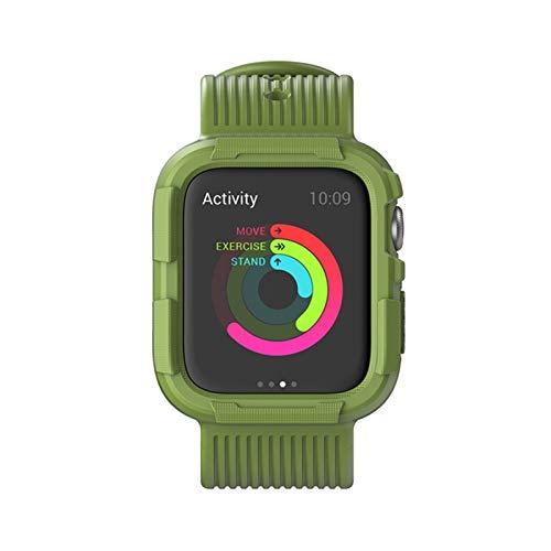 JJBFAC Correa de silicona para Apple Watch Band de 44 mm, 40 mm, 42 mm, 38 mm, cubierta de parachoques suave + pulsera 5 4 3 2 1 accesorios (color de la correa: verde, ancho de la correa: 38 mm)