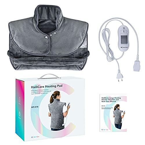 ZLZNX Almohadilla Térmica Espalda Hombros Cuello Eléctrica USB Autoapagado Calentamiento Rápido para Alivio del Dolor Chal Calefactor Manta,Gris,EU