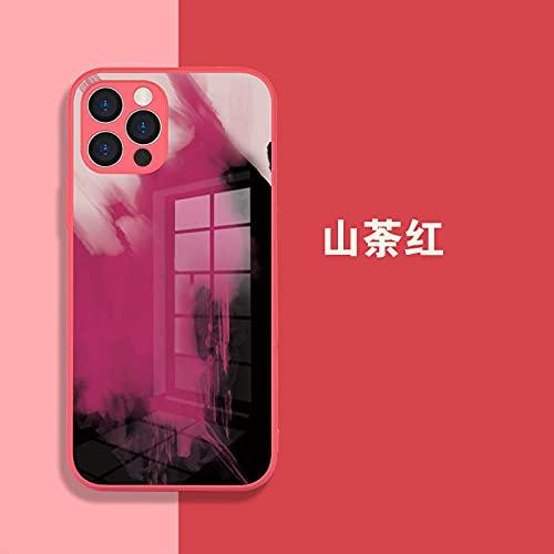 Adecuado para iPhone12 caso de vidrio templado Apple 12pro max personalizado mate caso de teléfono-camelia rojo_mate 40