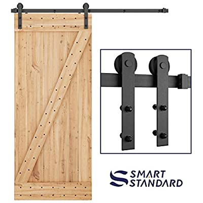"SMARTSTANDARD 6ft Heavy Duty Sturdy Sliding Barn Door Hardware Kit -Smoothly and Quietly -Easy to Install -Includes Step-by-Step Installation Instruction Fit 36"" Wide Door Panel (I Shape Hanger)"