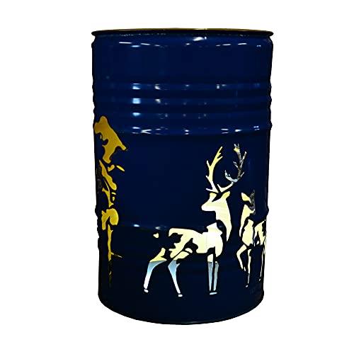 Fuchsbau Feuertonnen Recipiente para hoguera con diseño de bosque de ciervo, fabricado con barril de aceite de 200 l, brasero especial para jardín y terraza, con aspecto oxidado, 90 x 60 cm