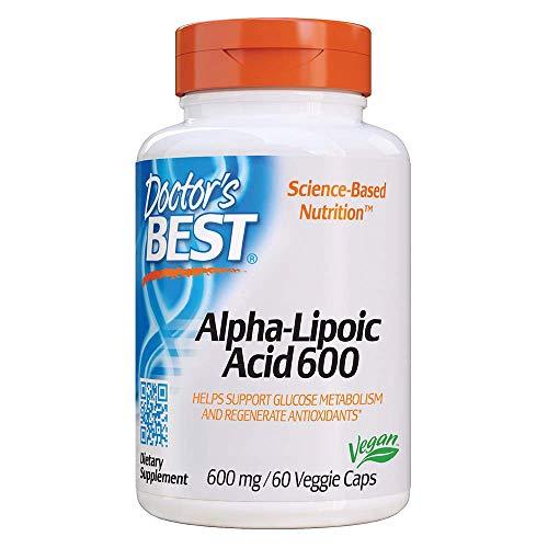 Doctors Best Alpha-Lipoic Acid, Non-GMO, Gluten Free, Vegan, Soy Free, Promotes Healthy Blood Sugar, 600 mg, 60 Veggie Caps
