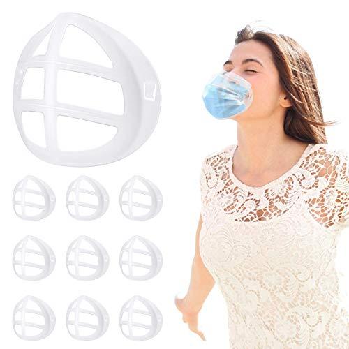 3D Maskenhalter, 10 Stück Maskenhalterung Mundschutz für Mehr Platz für bequemes Atmen Innenhalterung - Lippenschutz Waschbar Wiederverwendbar