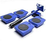 Yomiro -5 Pezzi Sollevatore per Mobile Portatile, con 4 Dispositivi di Scorrimento Set di Rulli da 1 asta di sollevamento per mobili, Set Spostare Mobili Pesante, Peso Fino a 150KG (Blu)