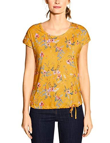 Cecil Damen 314909 TOS Flower Smock Shoulder T-Shirt, Mango Yellow, Large