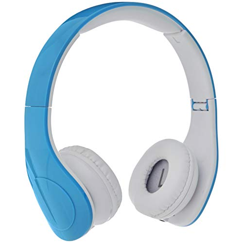 Amazon Basics Volume Limited Wired Over-Ear Headphones for Kids with Two Ports for Sharing, Blue