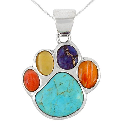 Dog Paw Pendant Necklace 925 Sterling Silver Genuine Turquoise & Gemstones (20', Multi)