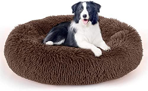 LDRHUY Soffice letto per cani.Letto per cani a ciambella.Letto rotondo per cani .Divano per cani.Letto per gatti (Marrone, 50 cm)