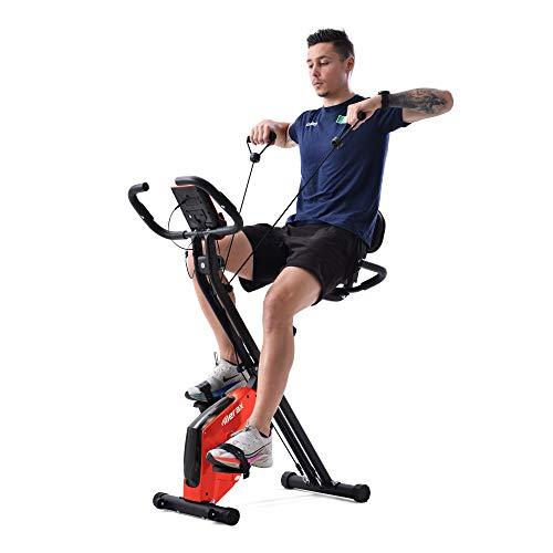X-Bike Heimtrainer mit Pulssensoren, Fitnessrad für Heimtrainer, gepolsterter Sitz und Rückenlehne (rot)