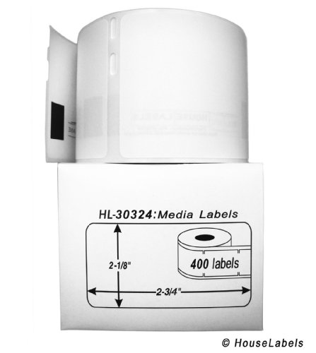 "25 Rolls; 400 Labels per Roll of HouseLabels Compatible with DYMO 30324 Media Labels (2-1/8"" x 2-3/4"") - BPA Free!"
