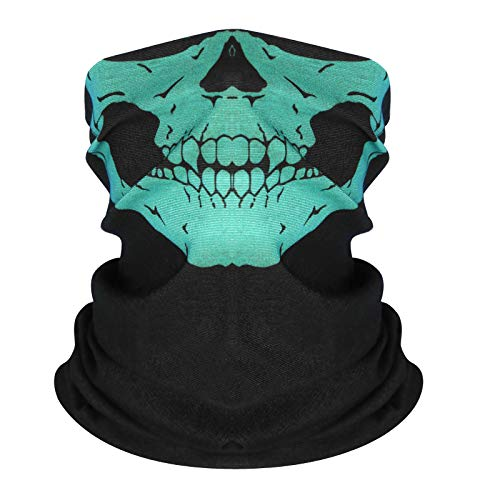 DLKondls Skull Face Mask Half Dust Wind Sun Protection for Outdoor Running Rave Festival Motorcycle Riding Biker Fishing Hunting 3D Tube Face Mask Multifunctional Seamless Bandana Headwear Green