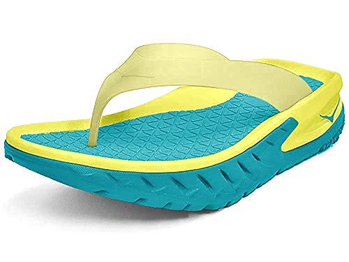 HOKA ONE ONE Mens Ora Recovery Flip Caribbean Sea/Primrose Thong Sandal 9 D US