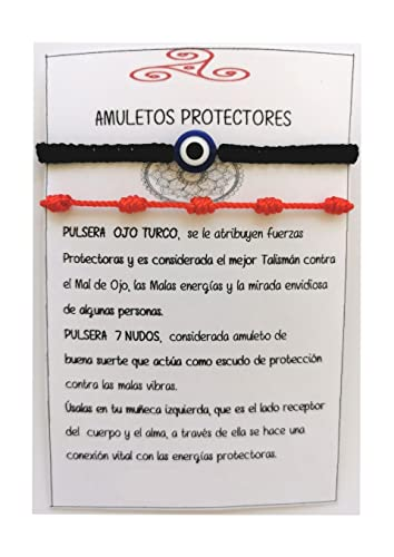 SabelAX Pulsera Roja 7 Nudos y Pulsera Ojo Turco, Hilo Rojo, Amuleto Buena...