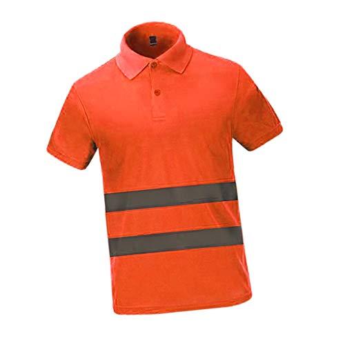Shiwaki Reflektierend Polo T Shirt Warnschutzshirt Warnshirt Kurzarmshirt Arbeitsshirt Arbeitshemd L-XXL, Mehrfarbig - Orange, XL
