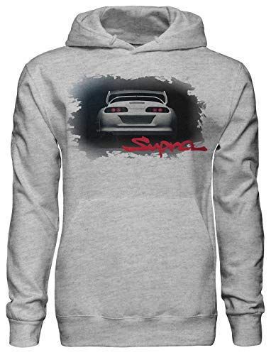 Legendary JDM Hero Hombres Toyota Supra Fan Artwork Unisex Pullover Hoodie with Pockets - Ring Spun Cotton Hooded Sweatshirt - Soft and Warm Inside - DTG Printed