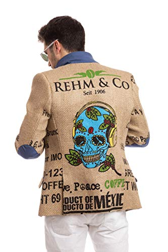 Herren Designer-Sakko aus mexikanischen Kaffeesäcken mit originalem Kaffeefarm-Print, Olivenholz-Knöpfen & Ellenbogen-Patches. Limited Edition Kollektion von THE COFFEE JACKET