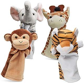 Hand Puppets Jungle Friends [Set of 4] | Elephant, Giraffe, Tiger & Monkey Stuffed Plush Animal Toys for Boys & Girls | Perfect for Storytelling, Teaching, Preschool & Role-Play
