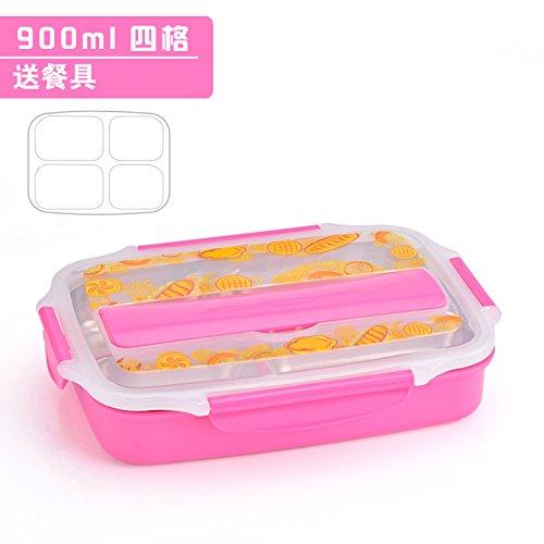 Luckyfree Bento RVS Voedselcontainer Lunchbox voor Studenten Kinderen Volwassenen RVS, Roze Quad Formaat + Bestek Tas