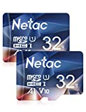 Netac Carte mémoire microSDHC, Lot de 2 32G Haute Vitesse UHS-I Carte Micro SD jusqu'à 90MB/S, A1, U1, C10, V10, FHD, 600X Carte TF pour Drone/Dash Cam/Camera/Phone/Nintendo-Switch/PC/Tablette