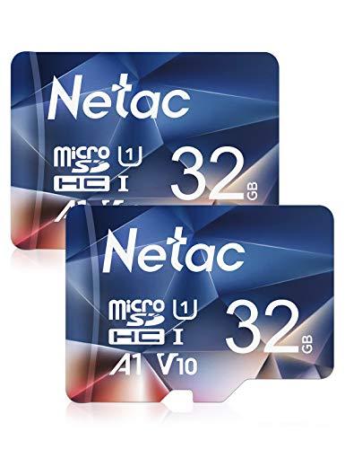 Netac Tarjeta de Memoria de 32GB, Tarjeta Memoria microSDXC(A1, U1, C10, V10, FHD, 600X) UHS-I Velocidad de Lectura hasta 90 MB/s, Tarjeta TF para Móvil, Cámara Deportiva, Switch, Gopro(2 Packs)