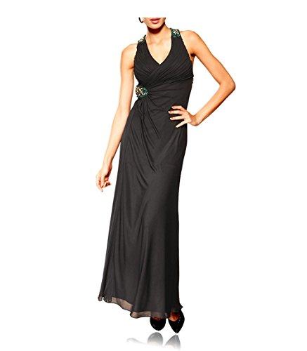 Heine Damen-Kleid Abendkleid mit Pailletten Schwarz Größe 40