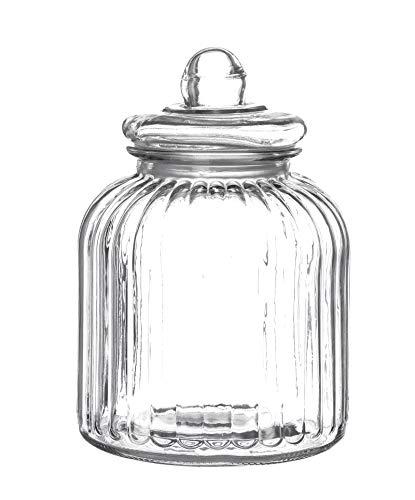 BigDean XXL Vorratsglas 3,5 L mit Glas-Deckel - 25 x 18 cm groß - Dickwandig - Bonbondose Glasbehälter Vorratsdose Glasgefäß Keksdose Müsli-Glas Gewürz-Behälter