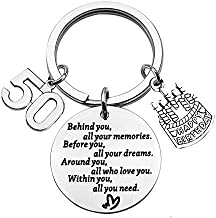BEKECH Birthday Keychain Gifts for Him/Her,10th 12th 13th 14th 15th 16th 18th 30th 40th 50th Birthday Cake Birthday Key Ring Gift, Behind You All Memories Before You All Your Dream (50th)