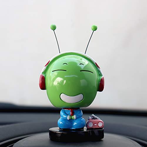 Inebiz - Figurine à tête branlante pour la voiture, chenille verte adorable , Happy