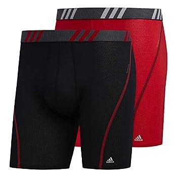 adidas Men s Sport Performance Mesh Boxer Briefs Underwear  2-Pack  Black/Onix Scarlet/Black LARGE