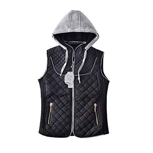 HANGMANGONGLU dames Gilets Wilde casual vest met capuchon dikke mantel voor de winter
