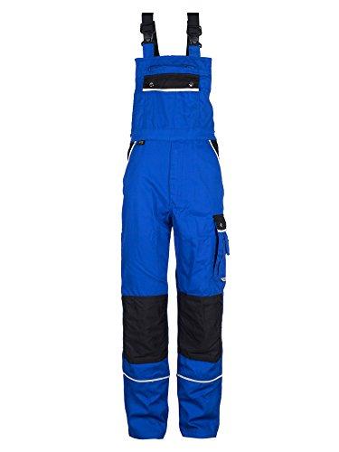 TMG® Arbeitslatzhose Herren, lange Arbeitshose mit Latz und Kniepolstertaschen Blau 62