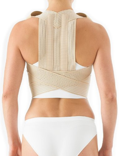 Neo G Clavicle Brace - Back Support for Posture Correction, Early Kyphosis, Rounded Shoulders, Pain Relief, Muscular Aches, Rehab - Fully Adjustable - Class 1 Medical Device - Medium - Tan