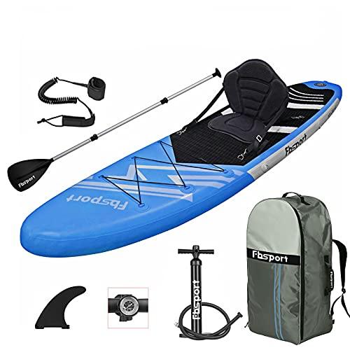 FBSPORT Sup Hinchable,Tabla de Stand Up Paddling con Asiento de Kayak,Tabla de Paddle Surf Hinchable con Remo Ajustable,Bomba de Aire,Aleta Desprendible,Bolsa de Transporte-Longitud: 320 CM