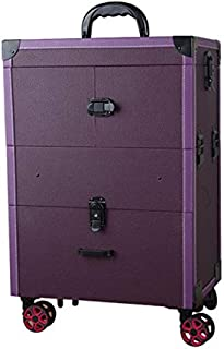 Nail Makeup Trolley Case, Large Capacity Cosmetic Box Case Luggage Rolling, Multi-Layer Beauty Salon Tattoo Trolley Suitcase,Purple