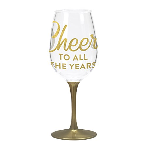 X&O Paper Goods QWGO-20904 Acrylic Wine Drinkware Singles, Cheers To All The Years
