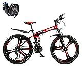 Faltbares 21-Gang-Mountainbike, faltbares Mountainbike, Mountainbike mit Variabler Geschwindigkeit für Erwachsene, Kohlenstoffstahlrahmen, duales Stoßdämpfungssystem (Dreimesserrad-Schwarz Rot)