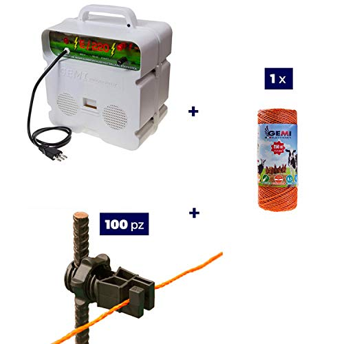 Komplettes Kit Für Den Weidezaun Weidezaunseil Elektrozaun Für Pferde Schafe Wildschweine Und Rehe: 1 x Weidezaungerät 220/230V + 1 x Weidezaunlitze 250 Mt 2,2 mm² + 100 St. Isolatoren Metallpfosten