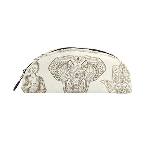 All Seeing Eye Elephant and Sitting Buddha Pencil Case Portable Mini Pen Organizer Bag, Cosmetic Makeup Bag