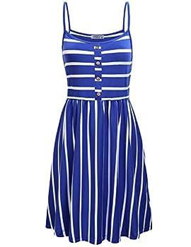 MOQIVGI Stripped Dresses for Women,Casual Summer Spaghetti Strap Buttons Decorative Midi Draped Swing Dress Prime Wardrobe Womens Clothing Dresses Royal Blue White Large