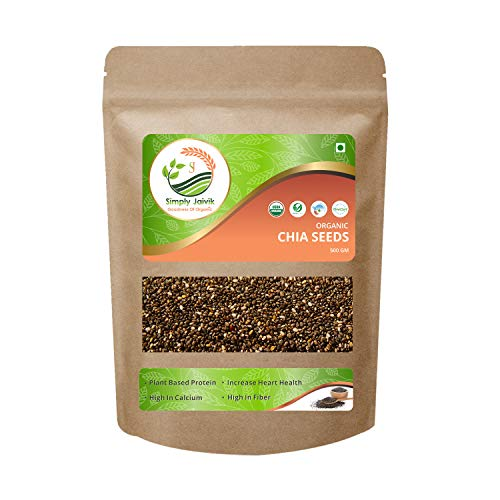 USDA Organic Certified Simply Jaivik Chia Seeds 500 Gram Organic - Chia Seeds High in Protein | Rich Source of Fibre | High in Omega 3 Fatty Acids | Best Anti-Oxidant | Rich in Iron and Calcium